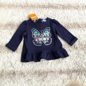 Gymboree 6-12 Mo Navy Butterfly Long Sleeve Tee